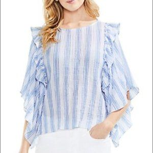 Vince Camuto striped, wide sleeve, ruffled top